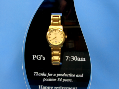 Gold Watch mounted in a custom Flame Trophy