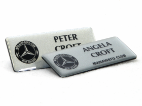 Name badges for the Manawatu branch of the Mercedes Benz Club of New Zealand