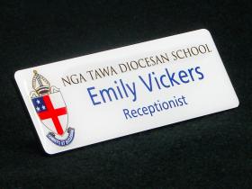 Nga Tawa Diocesan School staff name badge