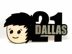 Acrylic 21st Key for Dallas with Mirror Text