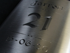 Jarrod's 21st Hipflask engraved using the Berry Rotunda font